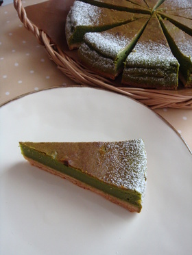 抹茶のチーズケーキ きなこシュクレ♪