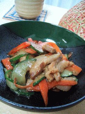 豚肉とキュウリの味噌炒め。