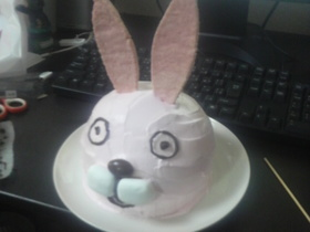ウサギさん型ケーキ♪市販スポンジ使用!