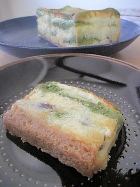 あんことお抹茶のベイクドチーズケーキ。