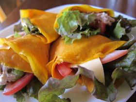 野菜ジュースでサラダクレープ