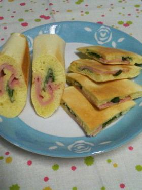 マヨバジル☆ハムとチーズのパンケーキ♪