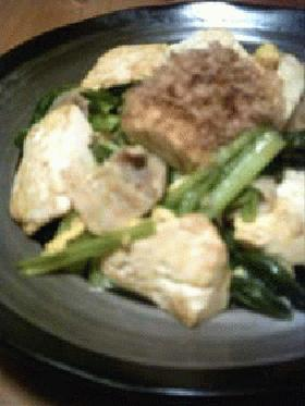 豆腐+小松菜の炒め物