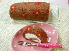 デコ☆お花模様のココアロールケーキ