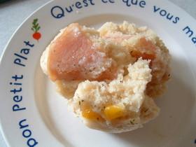 HMで栄養満点ハムチーズ蒸しパン