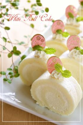 ホワイトチョコ入り☆白いロールケーキ