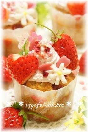 ひな祭りに❀苺のデコカップケーキ❀