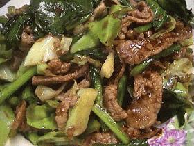 キャベツと小松菜の味噌炒め