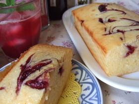 カシスジャムのチーズパウンドケーキ