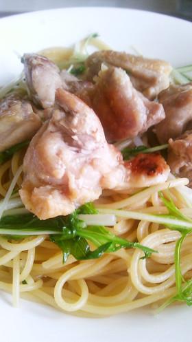 ぴりうま!鶏肉と水菜のわさび醤油パスタ