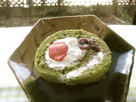 抹茶のロールケーキ いちご大福風♥