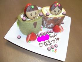 ロールケーキを立ててひな祭りケーキ♪