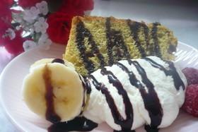 チョコ♥バナナ♥くるみ♥のシフォンケーキ