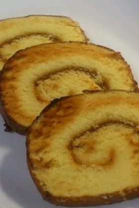 ロールケーキがサクサクのクッキー風に!