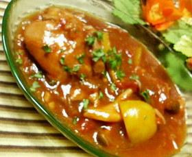 我が家の定番☆鶏もも肉のトマト煮込み