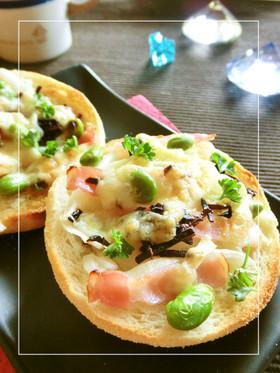 玉葱・ベーコン・枝豆の 塩昆布和マフィン