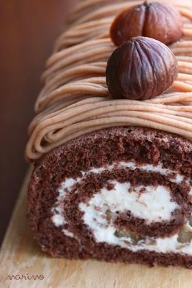 栗のモンブランロールケーキ