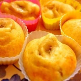 秋の味!バナナと木の実のカップケーキ