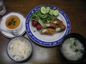 高野豆腐の梅シソ巻きフライ