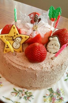 クリスマスケーキ♪(ココアスポンジ)