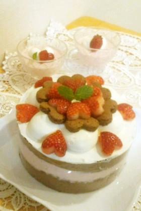 ココアスポンジの♪いちごムースケーキ
