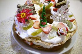 リース風☆パリブレストのXmasケーキ♡