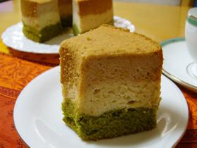 ひな祭りに★米粉の3色シフォンケーキ