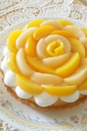 爽やかヨーグルトクリーム♪桃の花タルト☆