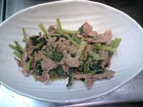 ガッツリ!!小松菜とやわらか豚肉の炒め物