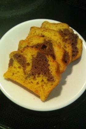 カボチャのマーブルパウンドケーキ