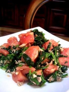 ほうれん草とトマトのツナドレッシング