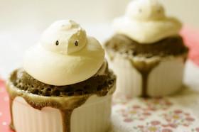 クリスマスのスノーマンカップケーキ
