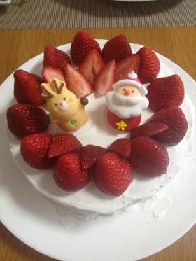 簡単スポンジのクリスマスケーキ