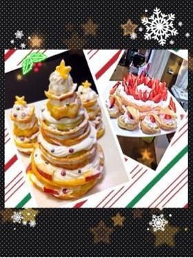 シュークリームでクリスマスツリー&リース