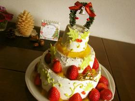 クリスマスに*シフォン3段ケーキ☆彡