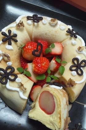 クレープで☆イチゴのババロアケーキ