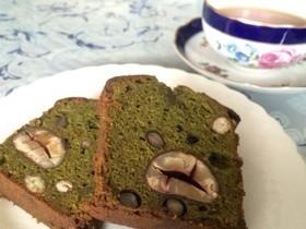 渋皮栗と豆の抹茶パウンドケーキ