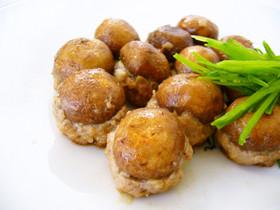 鶏味塩で作るマッシュルームの肉包み焼き