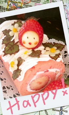 キャラデコロールケーキ:いちごちゃん