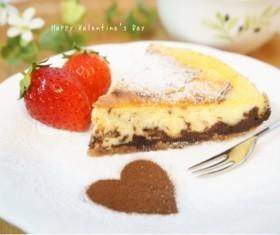 バレンタイン♡ココア香るチーズケーキ