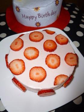 ピンクの水玉レアチーズケーキ○ゼラチン有
