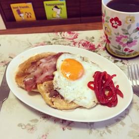 朝食ツナのパンケーキ☻