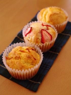 HMで簡単、3種のフルーツカップケーキ