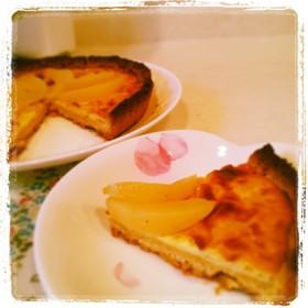 ヨーグルトで桃のベイクドチーズタルト