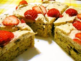 プラムケーキ生地のレアチーズケーキ