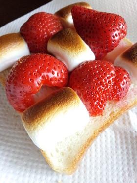 マシュマロ&イチゴ★簡単デザートトースト