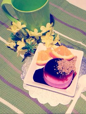 紫芋ぷりん〜黒蜜,黒豆きな粉をかけて〜