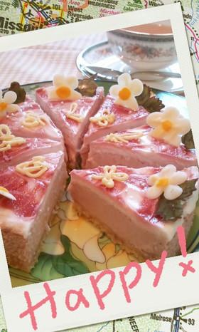 ピンク色のラブリーベイクドチーズケーキ