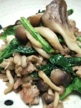舞茸、しめじの挽き肉ニンニク味噌炒め
