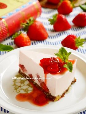 苺たっぷり♡ストロベリーレアチーズケーキ